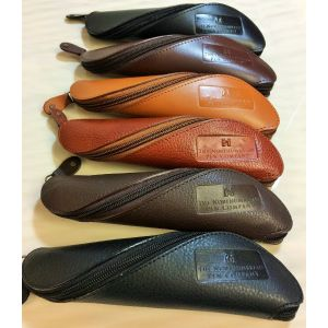 """""""TWISTER"""" Pen or Multi Purpose Leather Pouch (Brown Grained)"""
