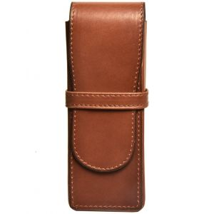 Aston Leather American Style 3 Pen Box Cognac