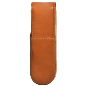 Aston Leather Italian Style 2 Pen Box Tan