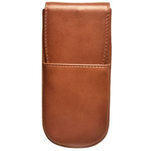 Aston Leather Italian Style 3 Pen Box Cognac