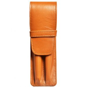 Aston Leather Two Pen Tan Leather Case