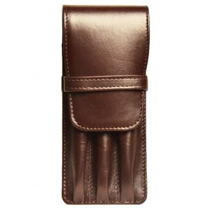 Aston Leather Three Pen Brown Leather Case