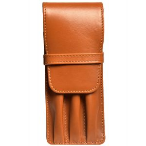 Aston Leather Three Pen Tan Leather Case