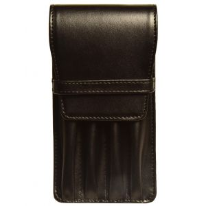 Aston Leather Four Pen Black Leather Case