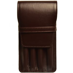 Aston Leather Four Pen Brown Leather Case