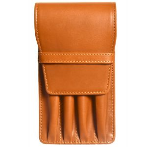 Aston Leather Four Pen Tan Leather Case