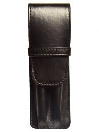 Aston Leather Two Pen Black Leather Case
