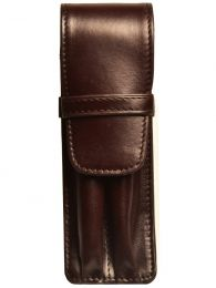 Aston Leather Two Pen Brown Leather Case
